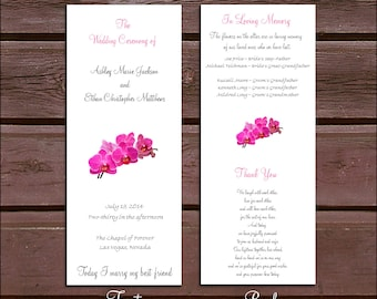 50 Pink Orchids Wedding Ceremony Programs