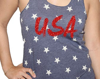 Tank Top stars  with  USA in red  glitter An American Apparel 50 50 combed cotton  poly blend Featuring a durable ribbed neckline.