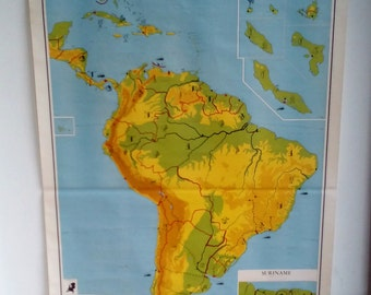 Big Wall Hanging - Large Continental Map - Big Country Chart - World Map - Detailed America - America Chart - South America on Chart