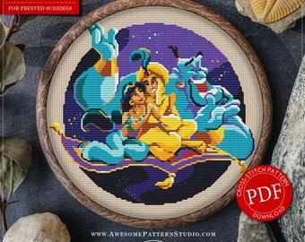 Aladdin Cross Stitch Pattern for Instant Download *P005   Counted Cross Stitch  Modern Cross Stitch  Nice Cross Stitch  Embroidery Hoop Art