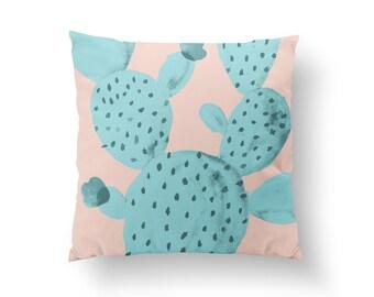 Cactus Pillow, Plant Illustration Pillow, Home Decor, Cushion Cover, Throw Pillow, Bedroom Decor, Bed Pillow, Decorative Pillow, Plant Decor