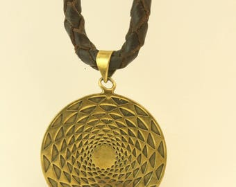 LEATHER NECKLACE with brass crop circle pendant