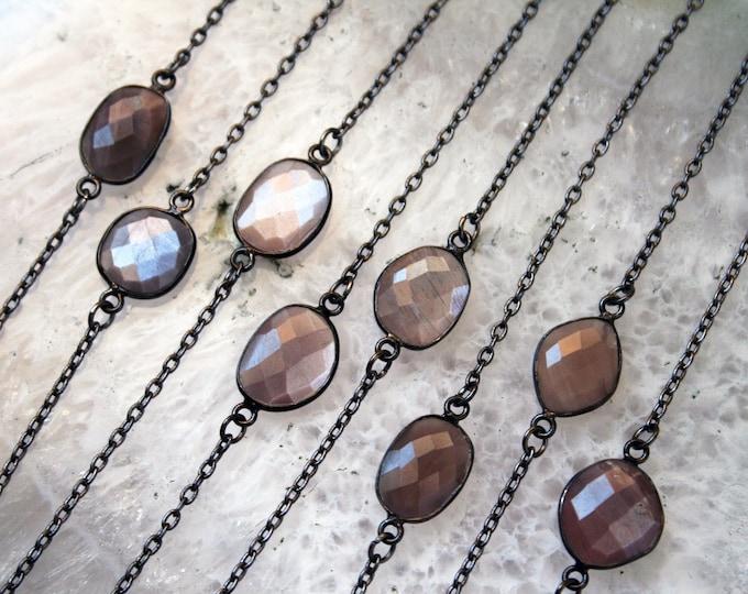 Petite Moonstone Gunmetal Necklace // Minimal Chocolate Silver Peach Moonstone Layering Necklace