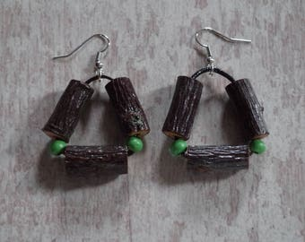 Earrings wood, painted plum tree branches, green beads