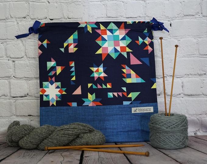 Quilt print bag,  Knitting project Bag, Crochet Bag, Yarn Bag,  Project Bag, Sock knitting bag, Drawstring project bag