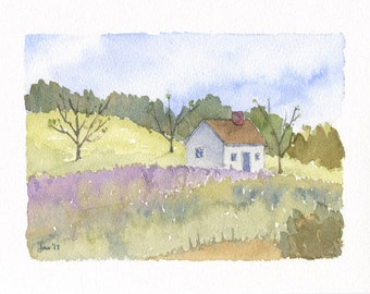 ORIGINAL Cottage in the Spring - Watercolor Painting