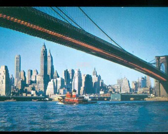 Brooklyn Bridge Over East River New York City Skyline Before Twin Towers Photo Postcard (20603)