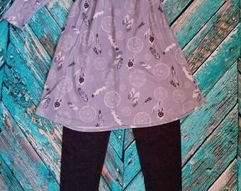 Plume d'Attrapeur de rêve-robe gris