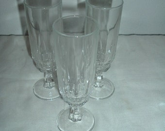 3 crystal stemware glasses