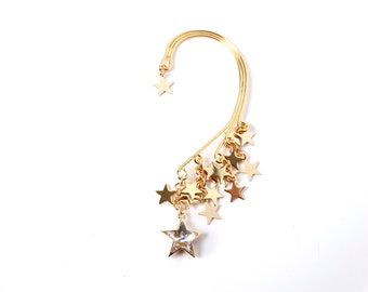 TRACKED and SIGNED Int.  Gold ear cuff, Swarovski crystal star, star cluster, UK seller, Yumistar