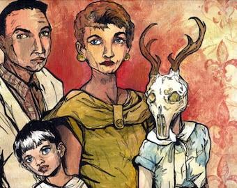 Family Memories with Deer Skull - But We Love Her Anyway - Original Surreal Acrylic Portrait