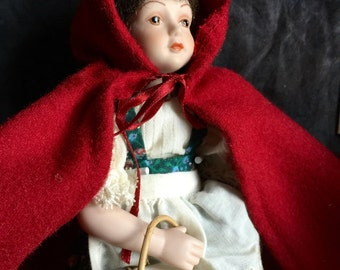Vintage Little Red Riding Hood Avon 1985 Fairy Tale Porcelain Doll Collection