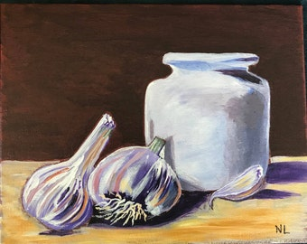 8x10 Acrylic Hand Painted Still Life with Garlic, One of a Kind