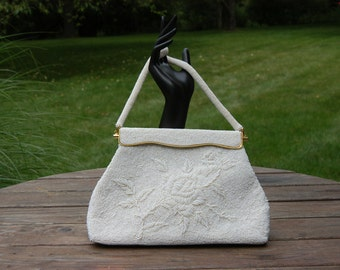 Vintage 1950's White Beaded Handbag