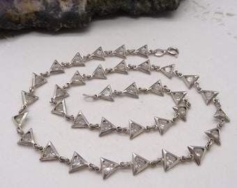 Vintage Sterling Silver Triangle Link Necklace Clear stones