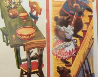 1944 Goldilocks & Three 3 Bears Matted Vintage Print