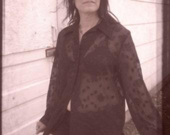 Sale Sheer Black Burnout type  Floral Grunge Long Sleeve Long Blouse Sz M