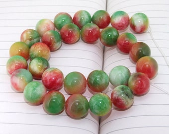 "strand Round Candy Rainbow Jade Beads ----- 14mm ----- about 28Pieces ----- gemstone beads--- 15"" in length"