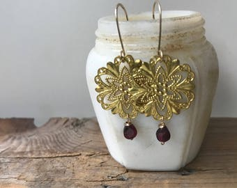 Garnet Filigree Earrings Brass Art Nouveau January Birthstone Holiday Jewelry Gifts Under 40 Winter Weddings Bridesmaids