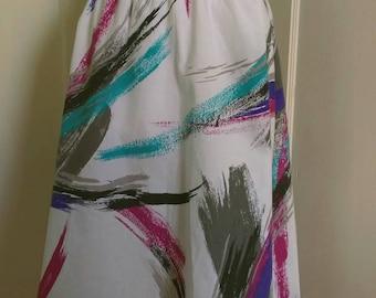SALE Women's /Junior's White Print Circle Skirt with Elastic Waist; Below Knee Skirt
