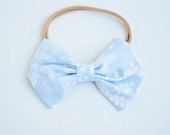 Hair Bow, Bow Headband, Headband, Headbands, Fabric Hair Bow, Baby Bow, Bow,  Alligator Clip, Bow, Rifle Paper Co - Queen Anne In Pale Blue