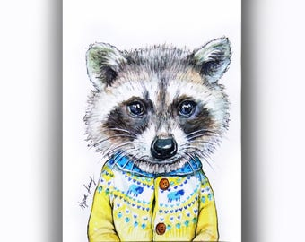 Raccoon Original ACEO Watercolor Painting, Raccon Pen Illust, Miniature Animal Art, Whimsical Raccoon Art, Nursery Art, Children Painting