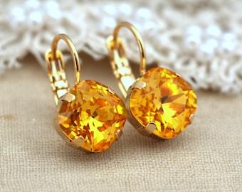 Yellow Canary sunflower drop earrings Yellow droplet Swarovski earrings imperialistic drop earrings bridesmaids earrings Rhinestone earrings