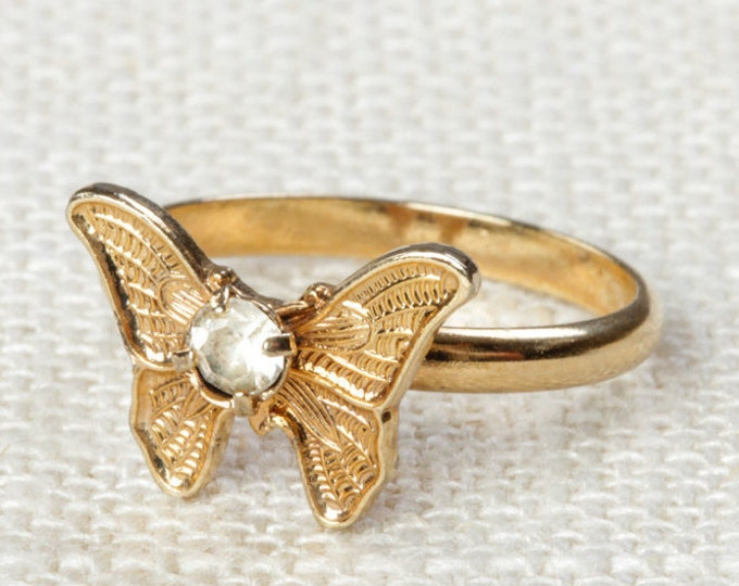 Vintage Butterfly Ring Clear Rhinestone Small Adjustable XS or Child's Size Vintage Ring Gold Butterfly Adjustable 7RI