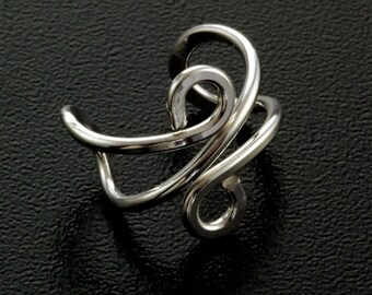 Swirly Ear Cuff - Sterling Silver, 14kt Gold Filled, 14kt Rose Gold Filled