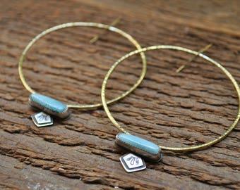 Atlantis Hoop Earrings with Adventurine Stones and Mineral Stampings