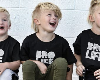 Bro Life Tshirt - Hipster Youth Tee Shirt - Kid T Shirt -  Brothers Shirt - Brothers outfit - baby bro shirt - big bro shirt - big brother