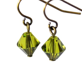 Olivine Diamond Crystal Dangles
