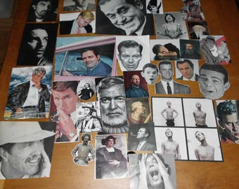 """32 Piece Ephemera Pack Men's Faces Broad Variety All From Vintage Sources Collage Mixed Media Altered Art 3"""" to 11"""""""