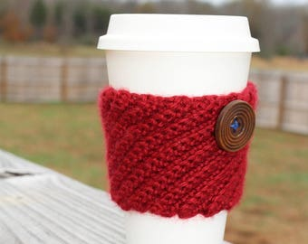 Red Crocheted Coffee Cozy