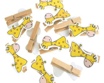 Wooden Giraffe Clothespins Baby Favors, 2-Inch, 12-Piece