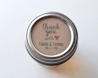 """20 Kraft 2"""" Round Sticker Label Tags - Custom Wedding Favor & Gift Tags - Thank you with love"""