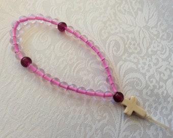 33 bead Pink and Plum glass beads Christian Pocket prayer beads with magnesite cross