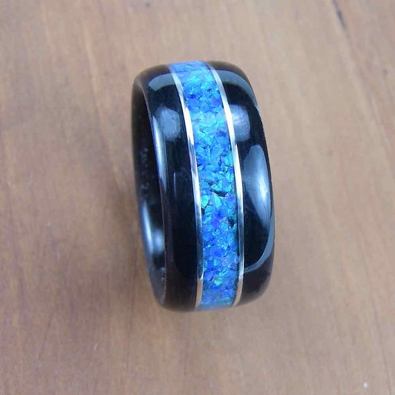 Bentwood Mens Ring Ebony with Blue Opal inlay with Sterling