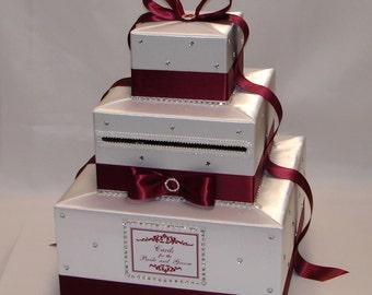 White and Deep Red( Crimson) Elegant Custom made Wedding Card Box-any colors-rhinestone accents