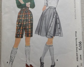Misses' Bermuda Shorts and Skirt Waist 24 All 14 Pieces Vintage 1950s McCall's Sewing Pattern 9975 Sporty Looks