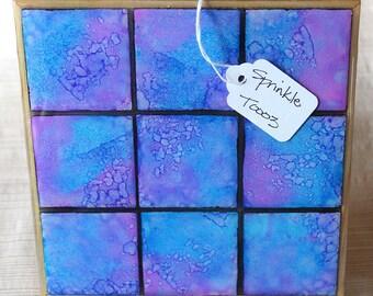 Sprinkle - Art Trivet, Alcohol Ink and Resin on Ceramic Tile