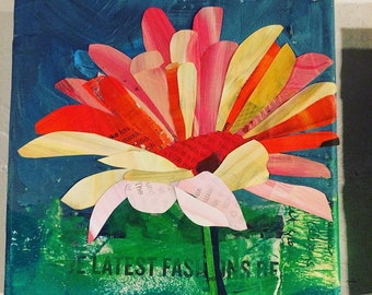 Painted Paper Daisy Collage