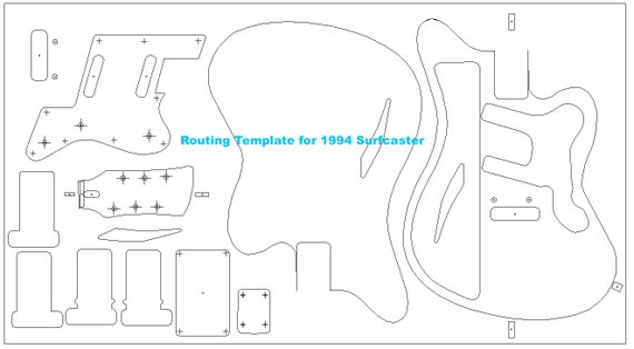 1994 Surfcaster guitar. Routing template for guitar building.