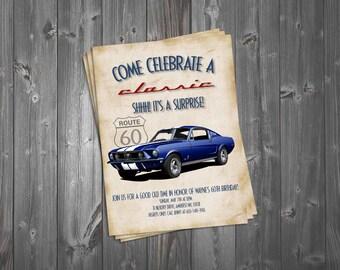 Come Celebrate a Classic 5x7 Birthday Invitation, Classic Car, Surprise Party, 60th Birthday, Vintage Theme