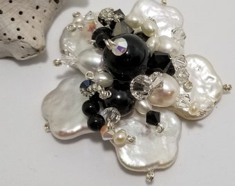 Fresh Water Pearls Wire Wrapped and adorned with Jet Black & Clear AB Swarovski  Crystals #613