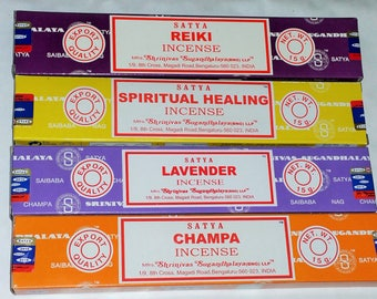 Satya Incense Sticks with 4 Different Flavours --Reiki, Spiritual Healing, Lavender and Champa with Free Incense Holder By Sterling Effectz