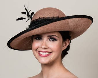 """Kentucky Derby Hat. Latte Tan Sinamay with Black Feather Trims. 5"""" Wide Asymmetrical Tilt Brim. Hatbox included. Free US Shipping."""