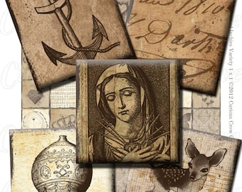 Grungy Neutral Vintage Images 1 Inch 25mm Squares Digital Collage Sheet INSTANT Printable DownloadJewelry, Pendants