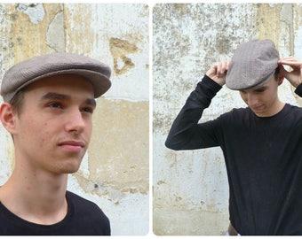 Vintage French grandpa  men beige light cap