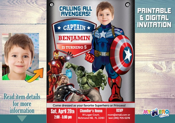 captain america birthday party invitation  your kid as captain